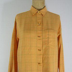 Vintage Burberry 6 Orange Check Cotton Shirt USA
